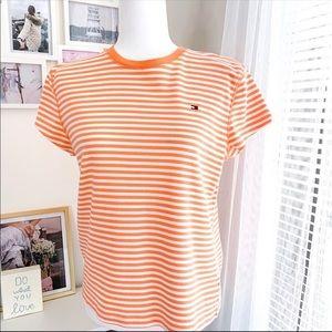 Tommy Hilfiger Crewneck Orange White Striped Tee